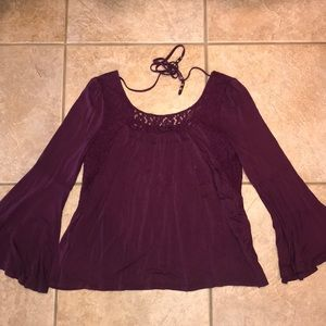 Bell Sleeve Plum Top